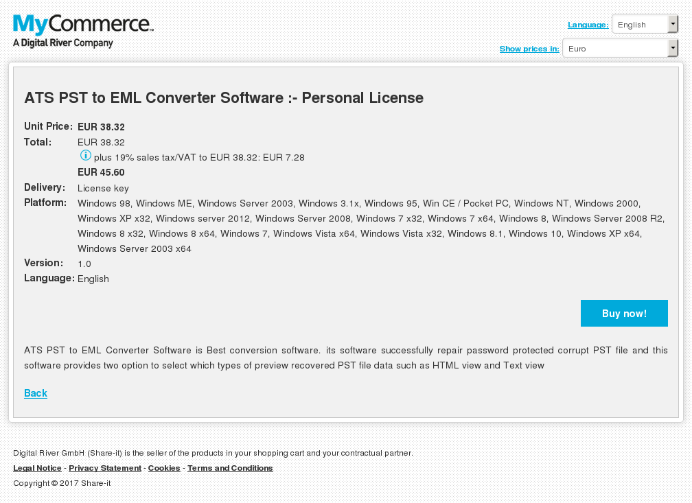ATS PST to EML Converter Software :- Personal License