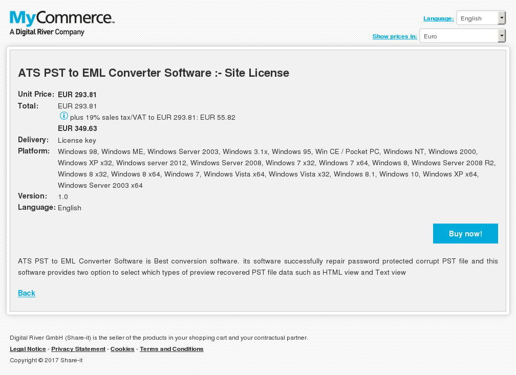 ATS PST to EML Converter Software :- Site License