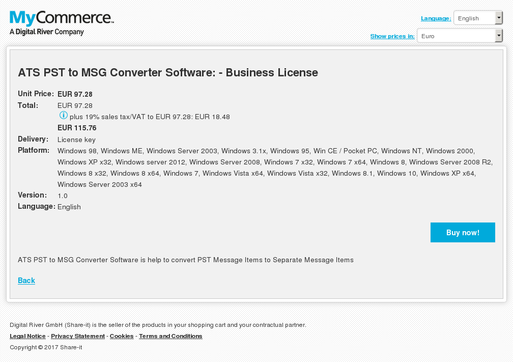ATS PST to MSG Converter Software: - Business License