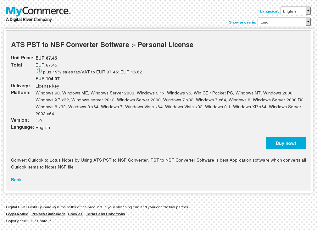 ATS PST to NSF Converter Software :- Personal License