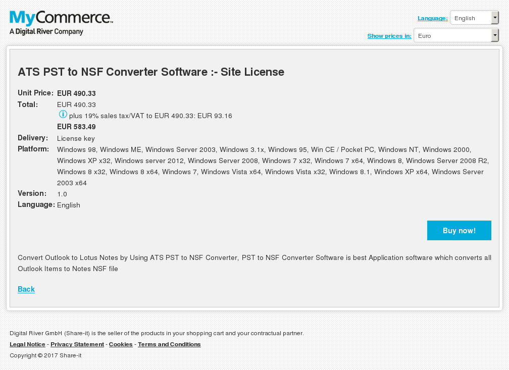 ATS PST to NSF Converter Software :- Site License