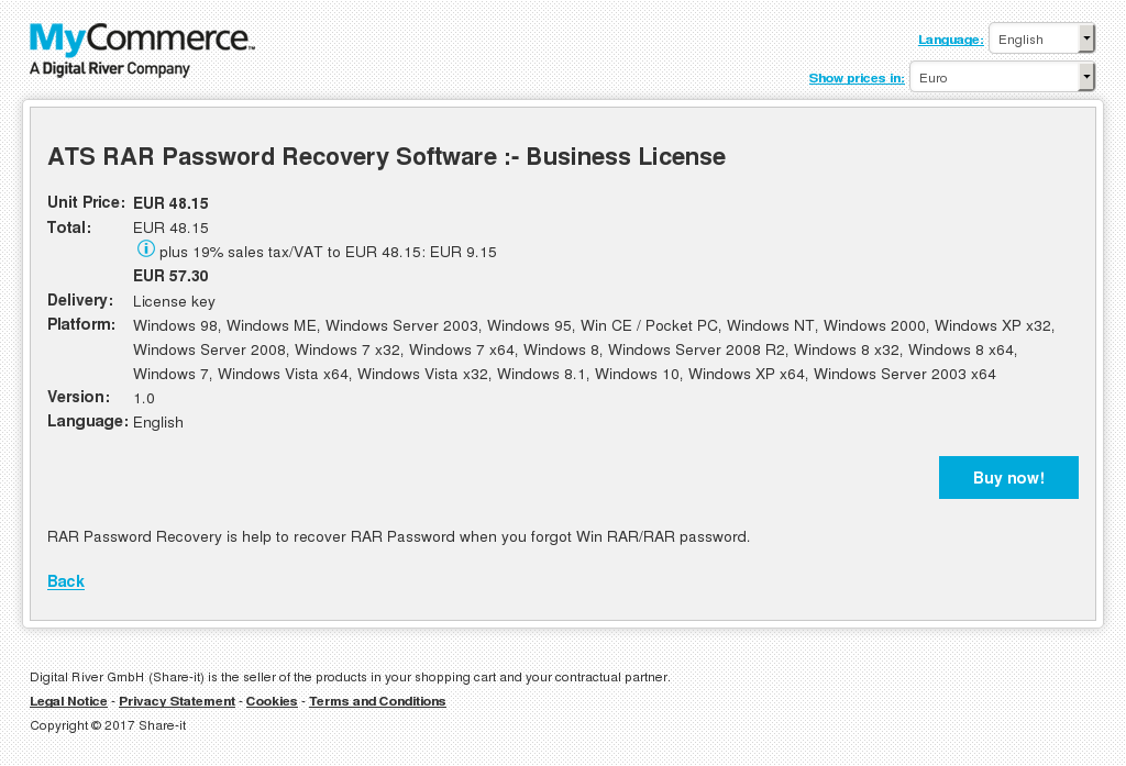 ATS RAR Password Recovery Software :- Business License