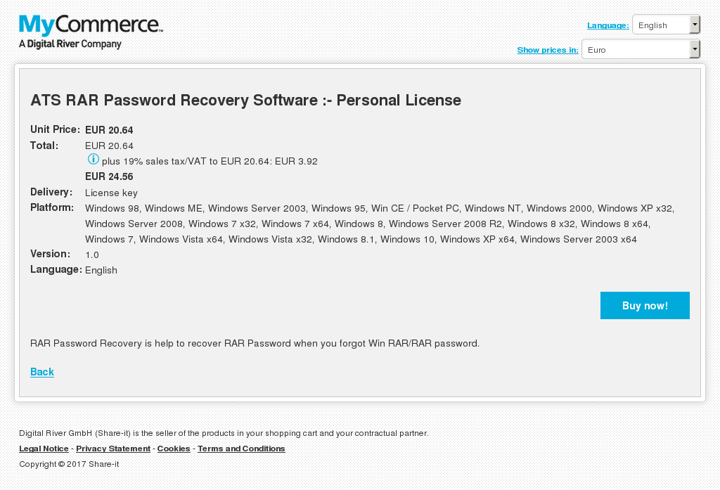 ATS RAR Password Recovery Software :- Personal License