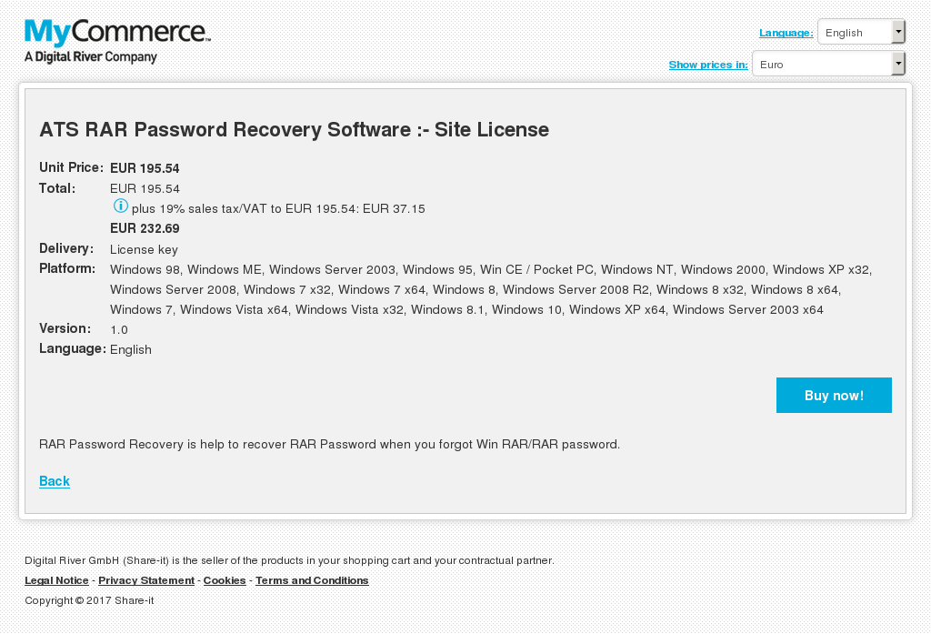 ATS RAR Password Recovery Software :- Site License