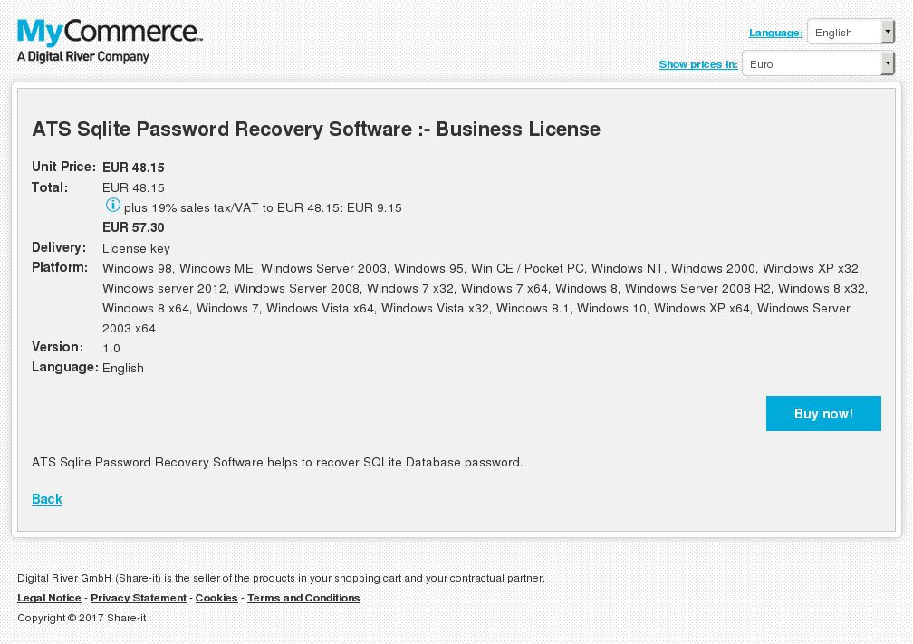 ATS Sqlite Password Recovery Software :- Business License