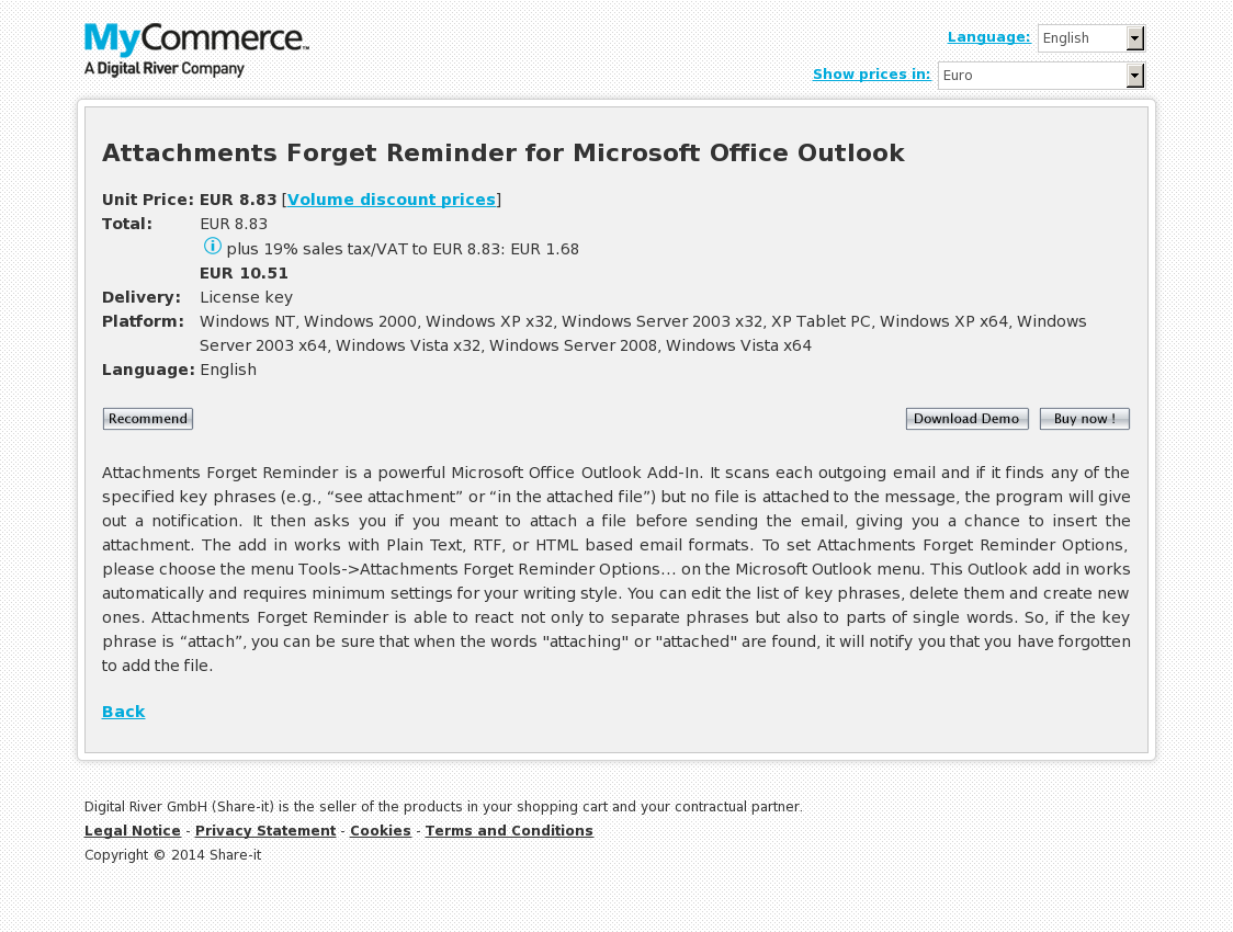 Attachments Forget Reminder for Microsoft Office Outlook