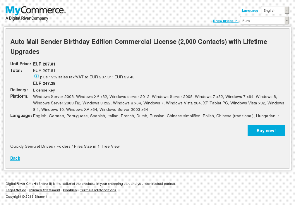 Auto Mail Sender Birthday Edition Commercial License (2,000 Contacts) with Lifetime Upgrades