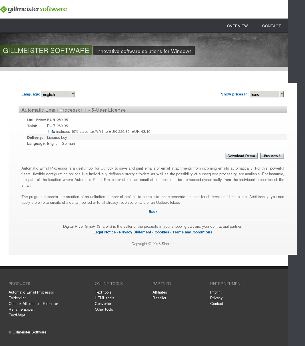 Automatic Email Processor 1 - 5-User License
