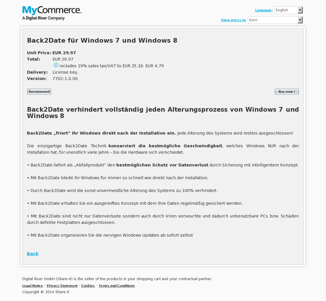 Back2Date für Windows 7 und Windows 8