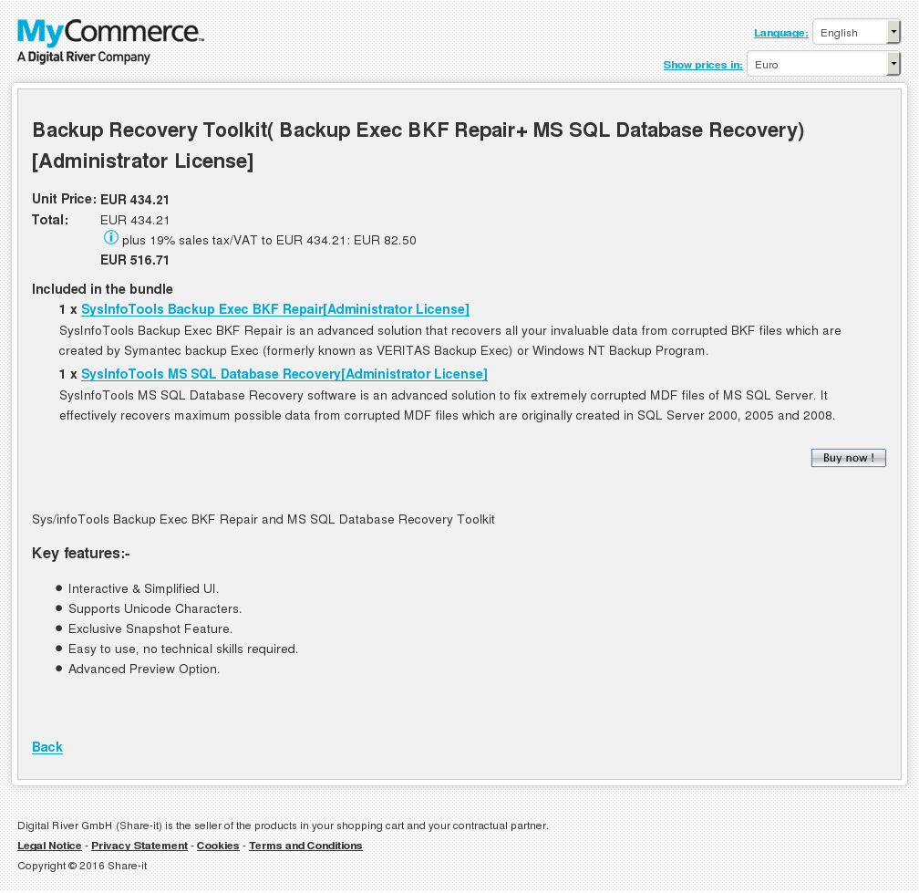 Backup Recovery Toolkit( Backup Exec BKF Repair+ MS SQL Database Recovery)[Administrator License]