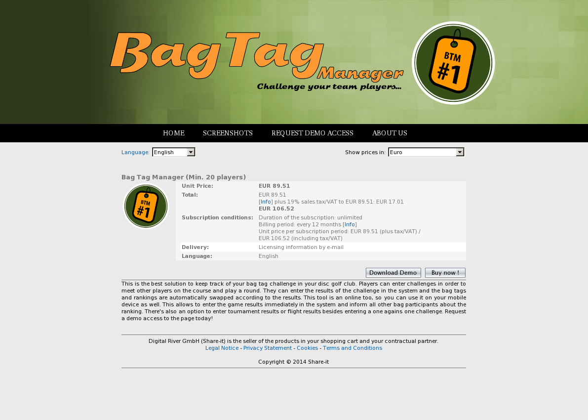 Bag Tag Manager (Min. 20 players)