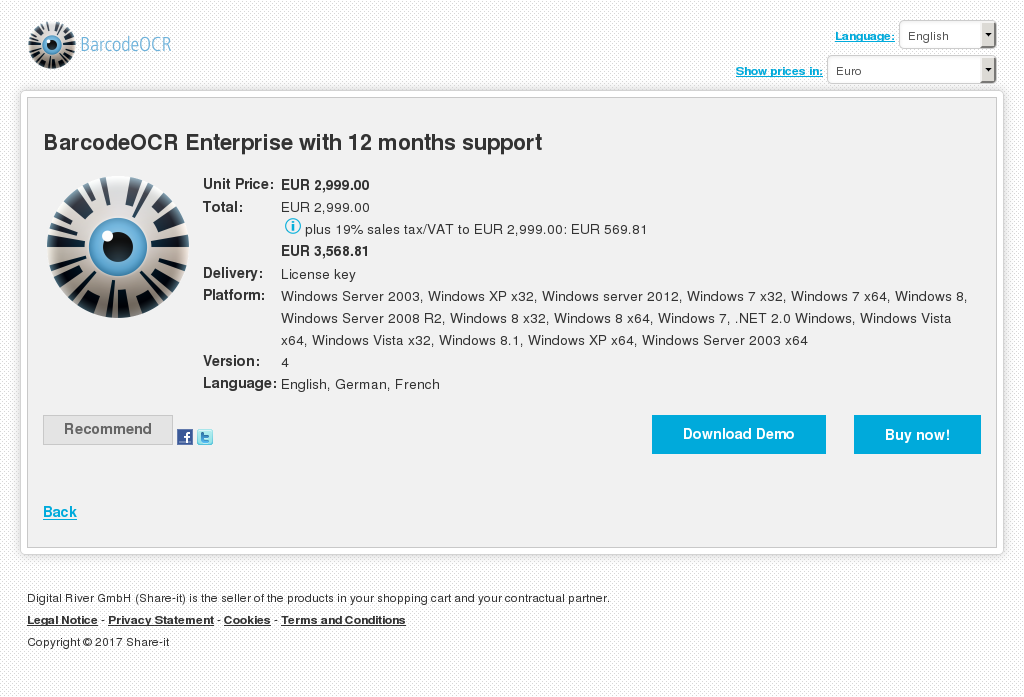 BarcodeOCR Enterprise with 12 months support