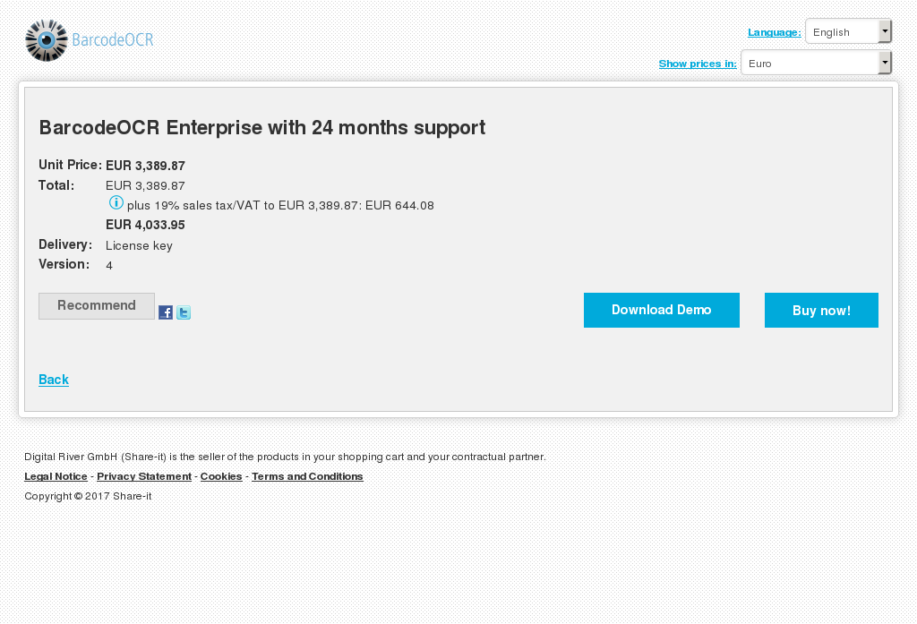 BarcodeOCR Enterprise with 24 months support