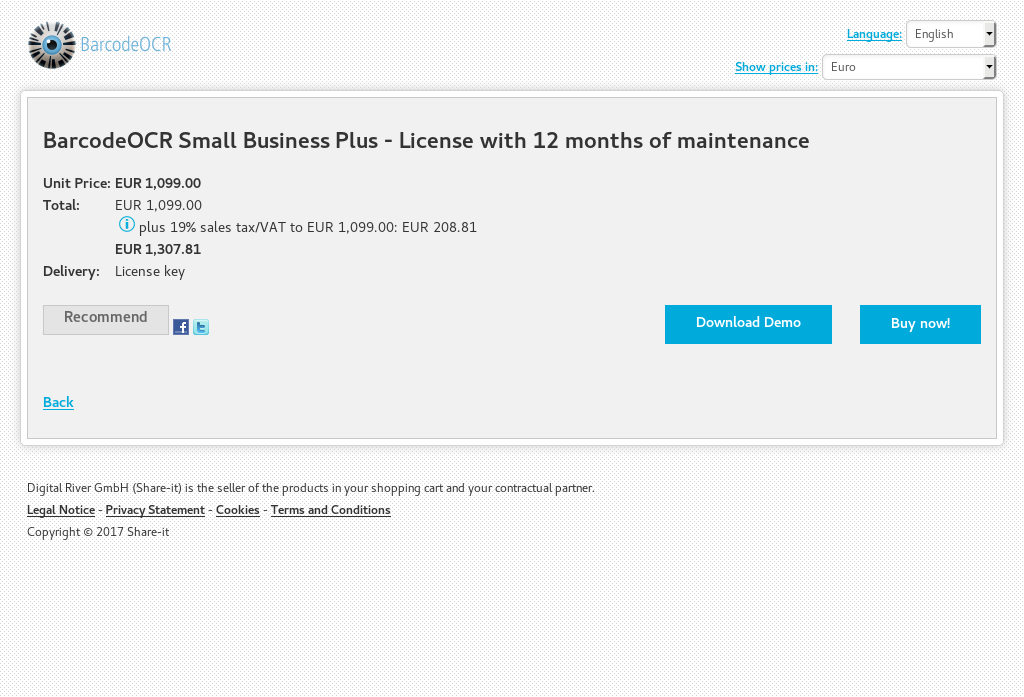 BarcodeOCR Small Business Plus - License with 12 months of maintenance