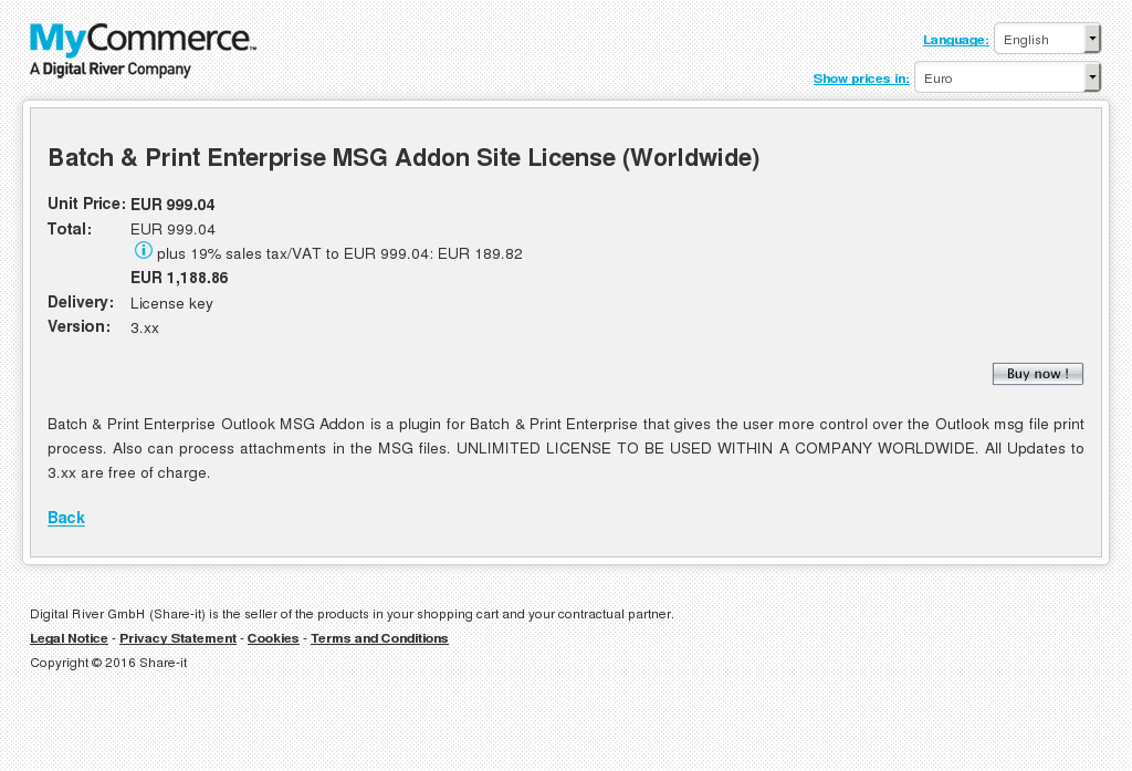 Batch & Print Enterprise MSG Addon Site License (Worldwide)