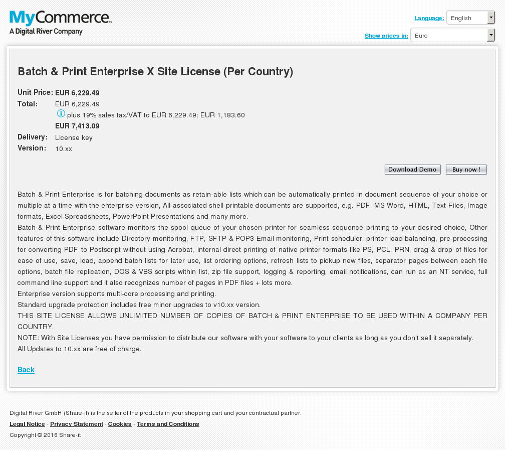 Batch & Print Enterprise X Site License (Per Country)