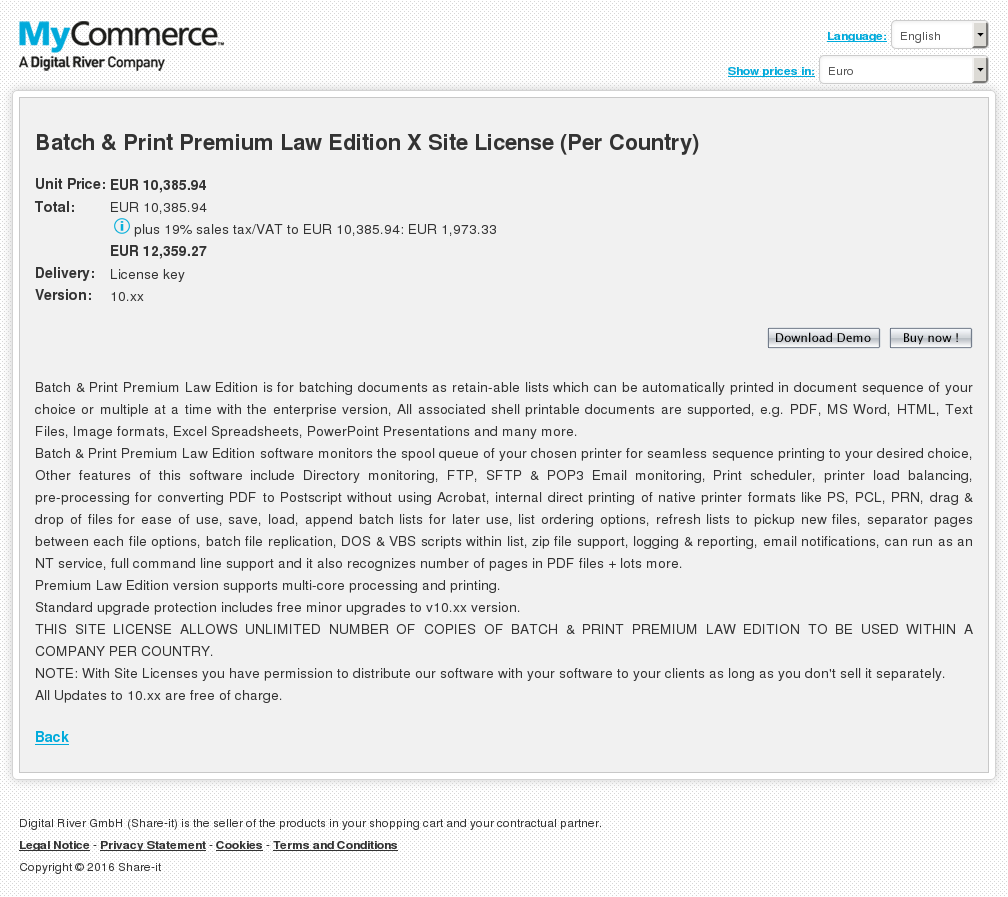 Batch & Print Premium Law Edition X Site License (Per Country)