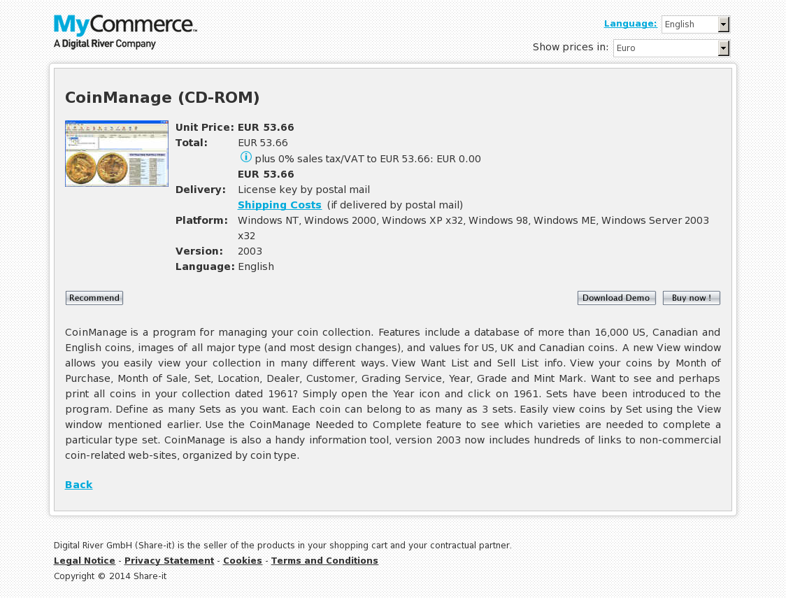 CoinManage (CD-ROM)