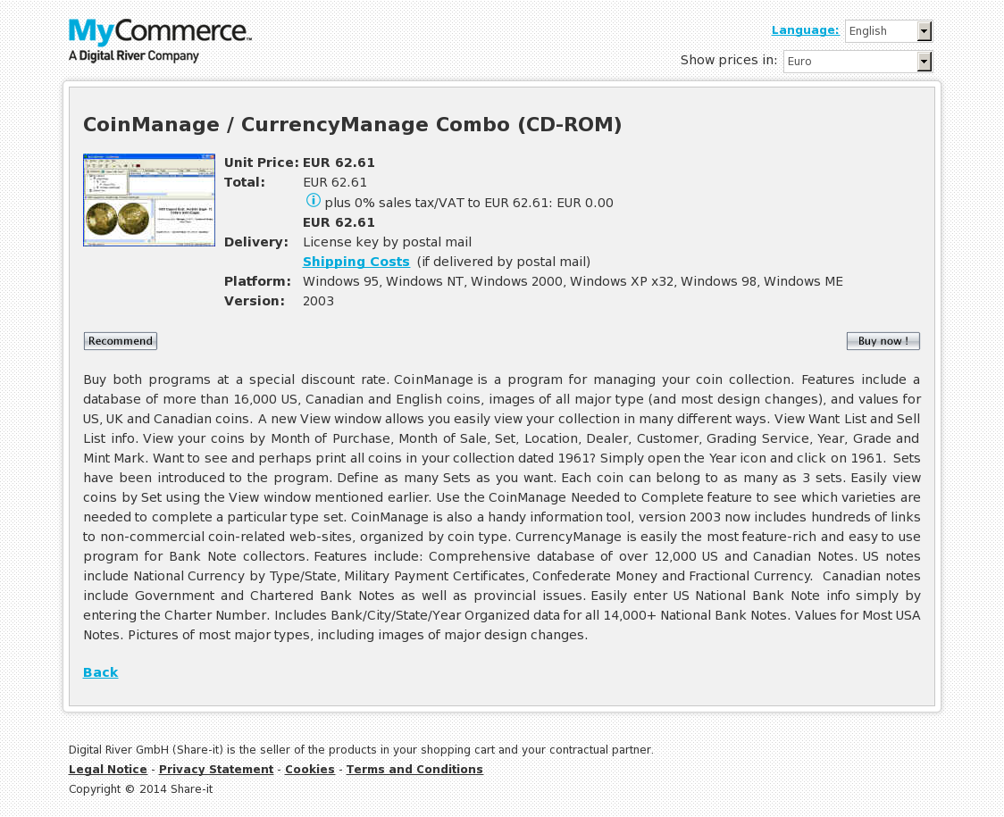 CoinManage / CurrencyManage Combo (CD-ROM)