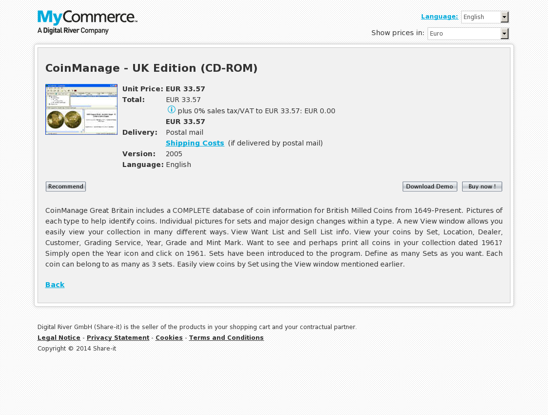 CoinManage - UK Edition (CD-ROM)
