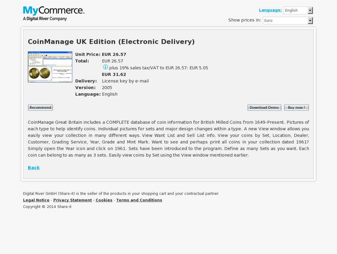 CoinManage UK Edition (Electronic Delivery)