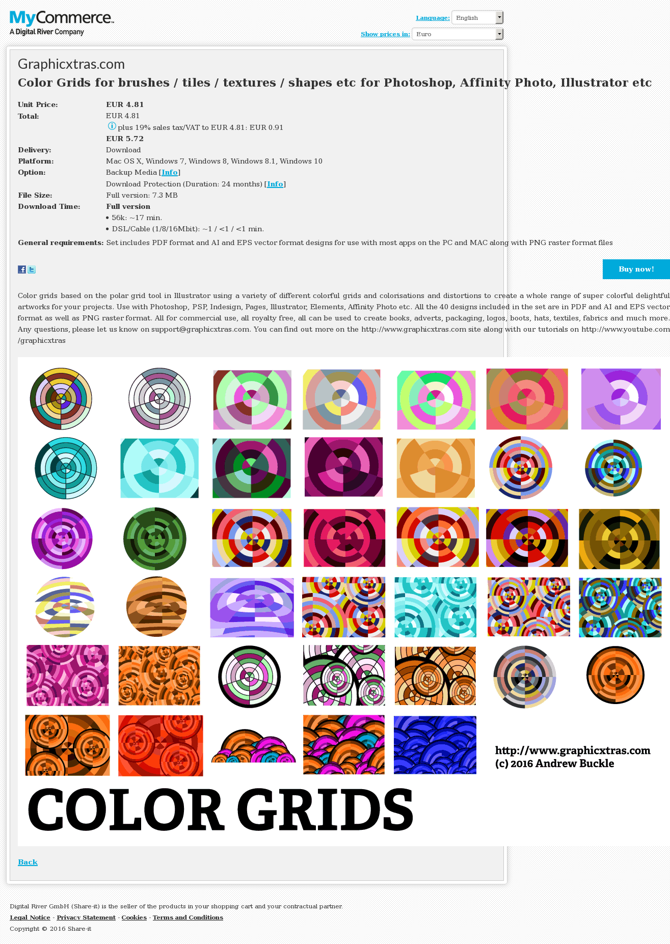 Color Grids for brushes / tiles / textures / shapes etc for Photoshop, Affinity Photo, Illustrator etc