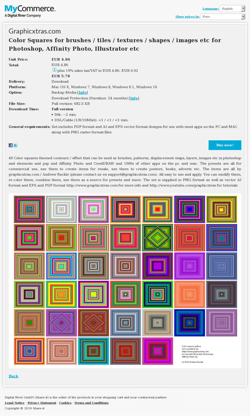 Color Squares for brushes / tiles / textures / shapes / images etc for Photoshop, Affinity Photo, Illustrator etc