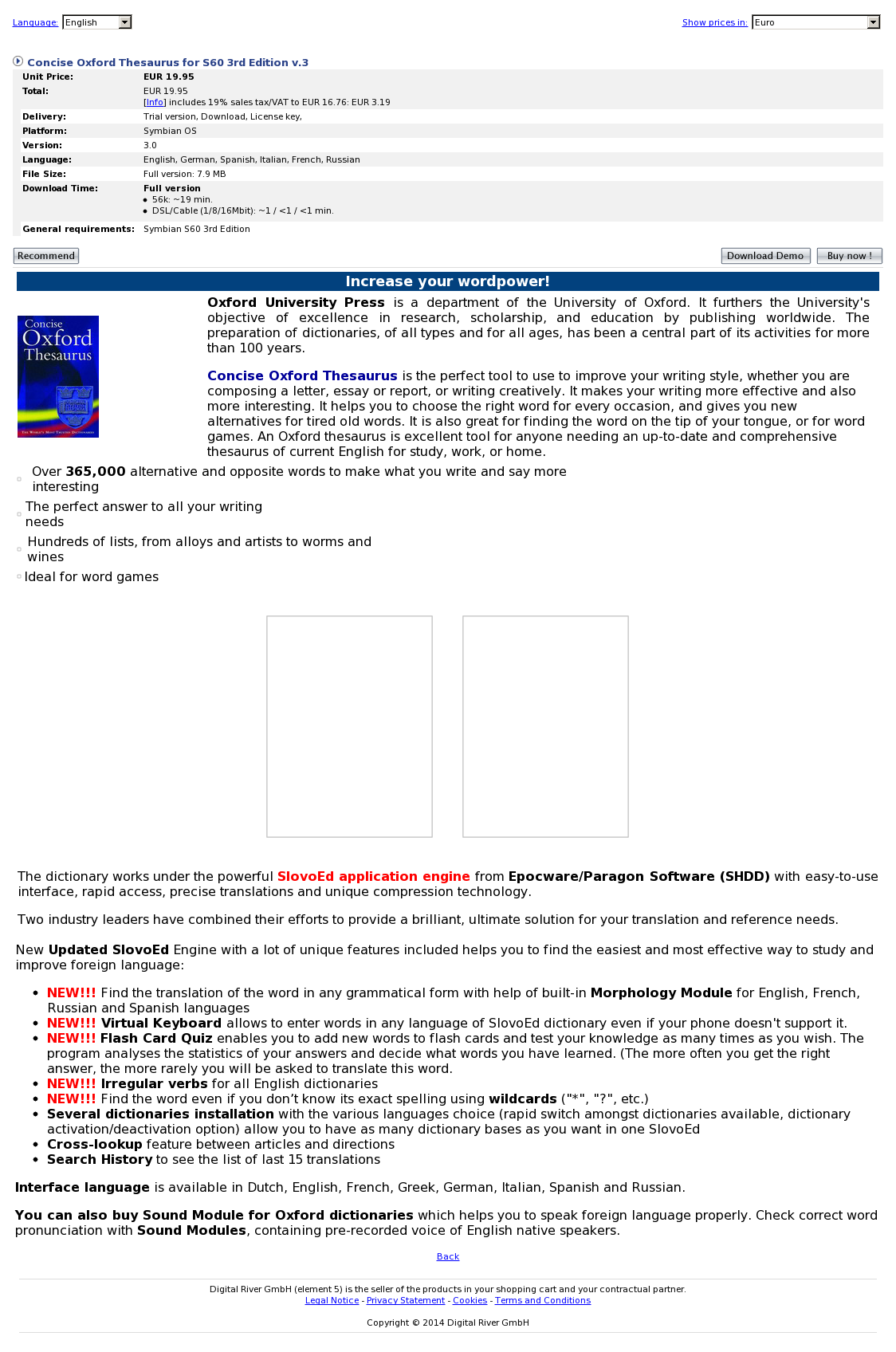 Concise Oxford Thesaurus for S60 3rd Edition v.3