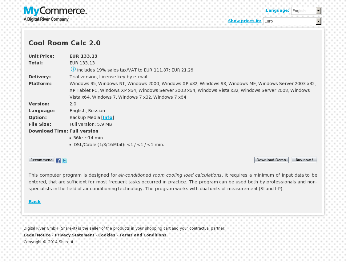 Cool Room Calc 2.0 Upgrade