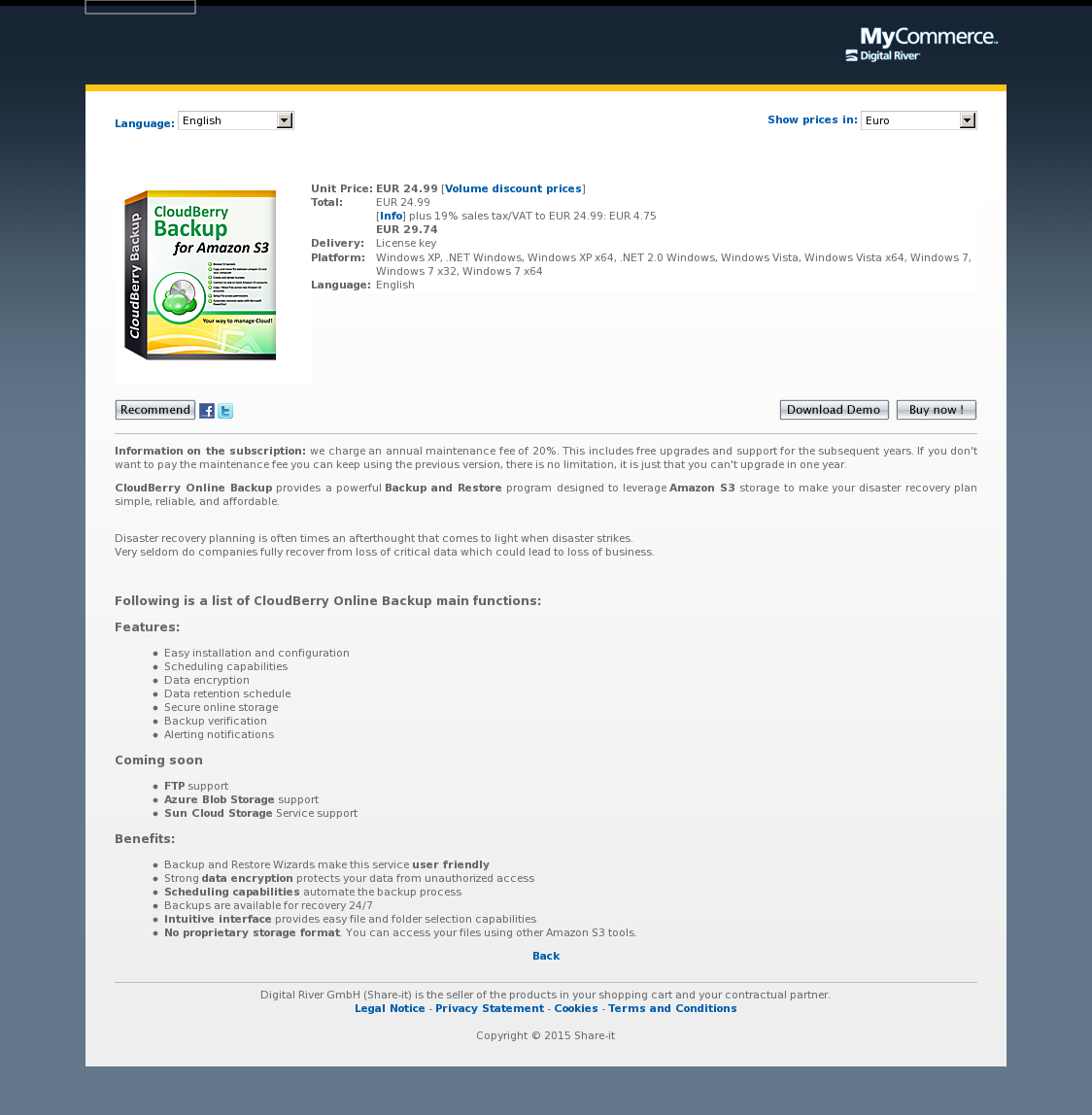 Copy of CloudBerry Backup for Linux Desktop Edition NR