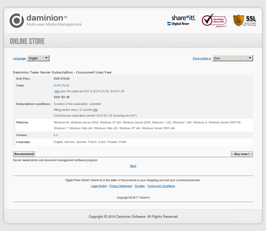 Copy of Daminion Team Server Subscription - Concurrent User/Year