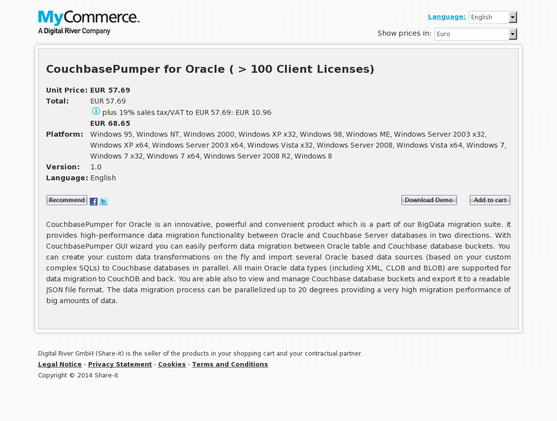 CouchbasePumper for Oracle ( > 100 Client Licenses)
