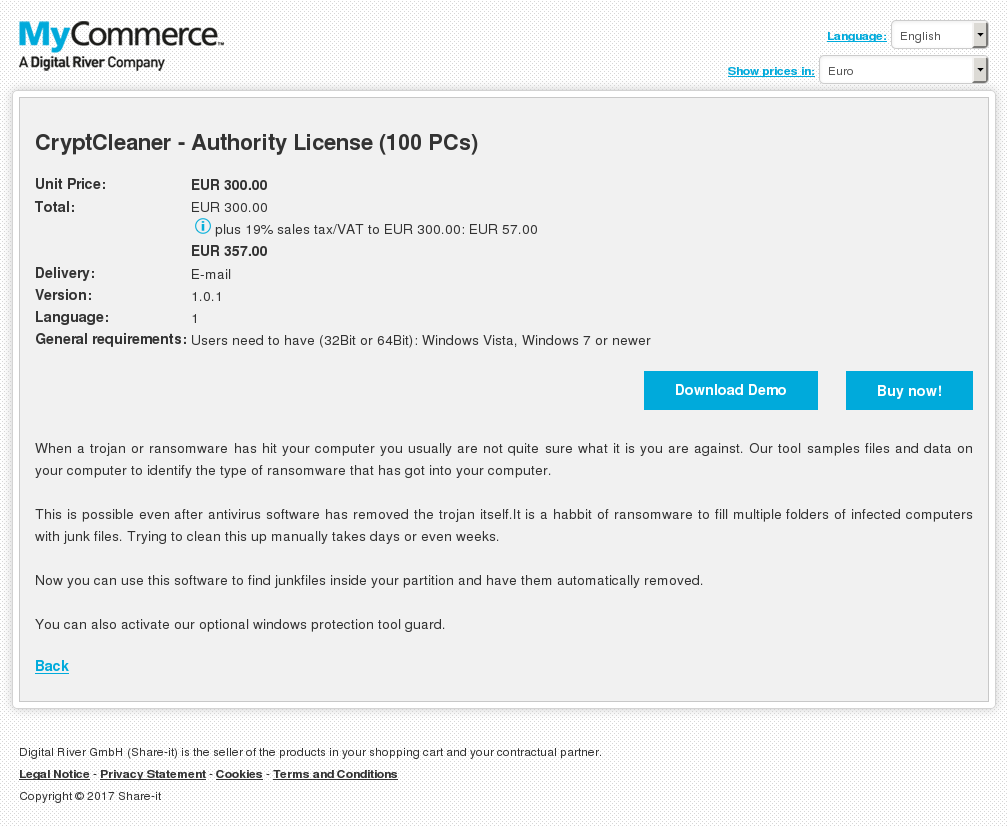 CryptCleaner - Authority License (100 PCs)