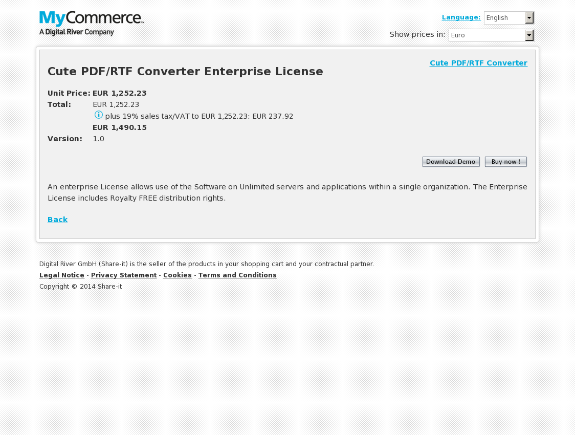 Cute PDF/RTF Converter Enterprise License