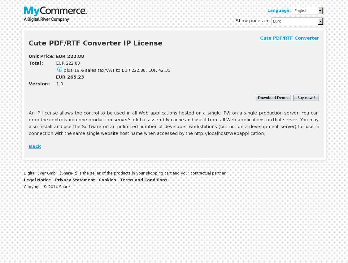 Cute PDF/RTF Converter IP License