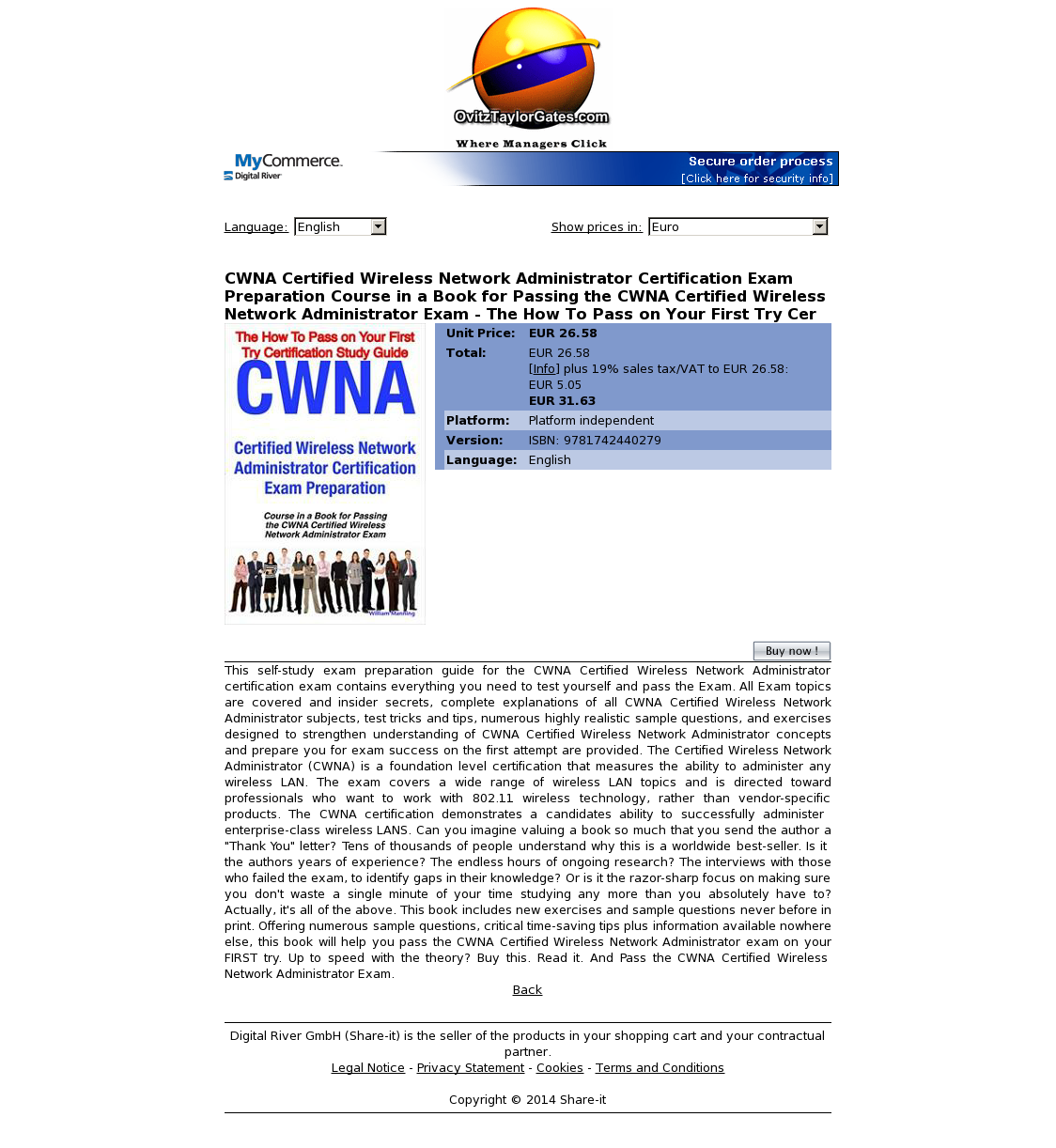 CWNA Certified Wireless Network Administrator Certification Exam Preparation Course in a Book for Passing the CWNA Certified Wireless Network Administrator Exam - The How To Pass on Your First Try Cer