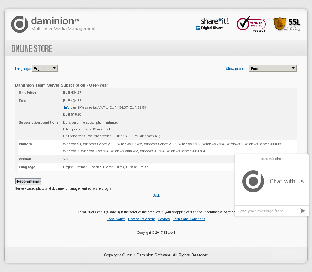 Daminion Team Server Subscription - User/Year