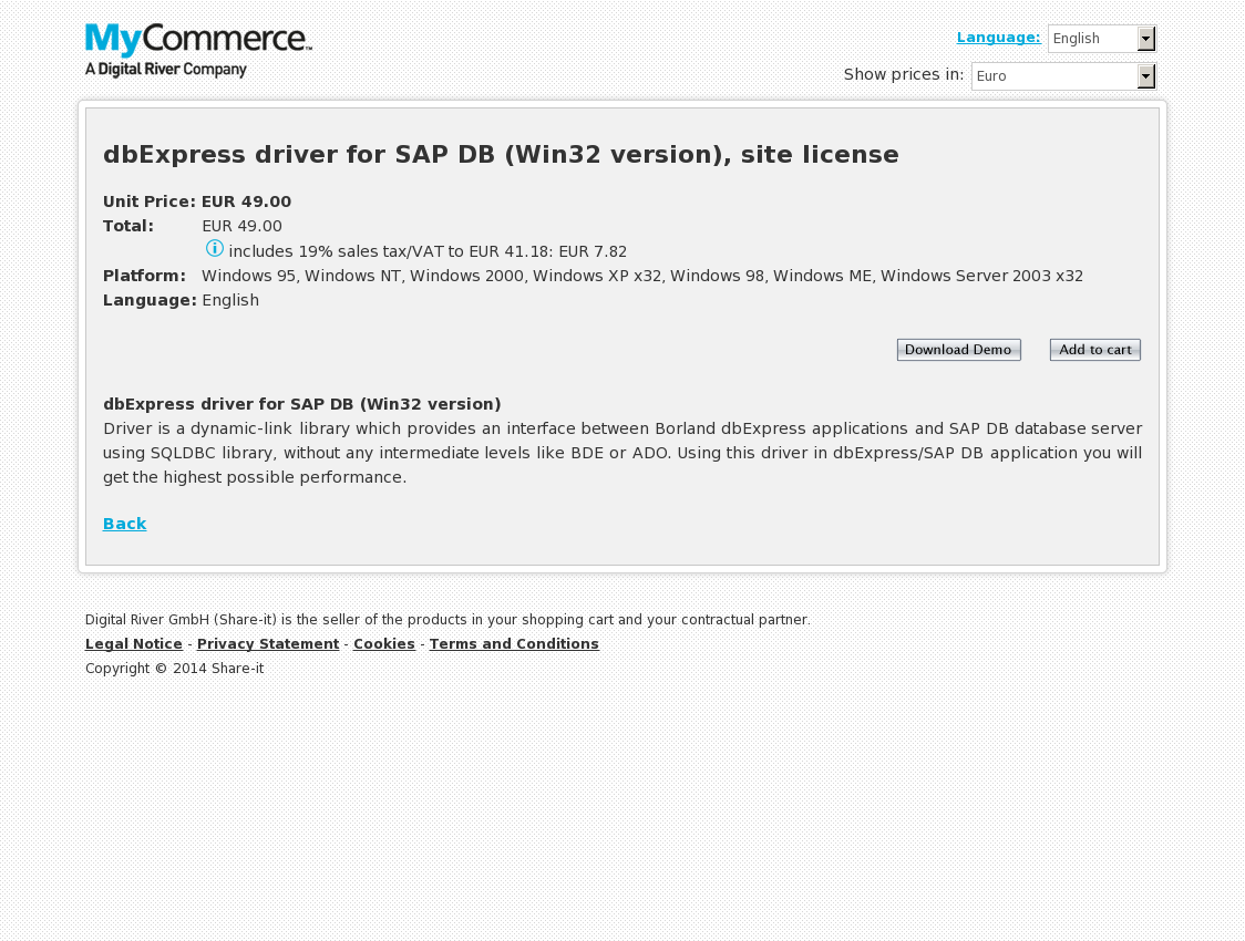 dbExpress driver for SAP DB (Win32 version), site license