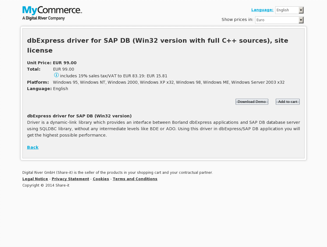 dbExpress driver for SAP DB (Win32 version with full C++ sources), site license