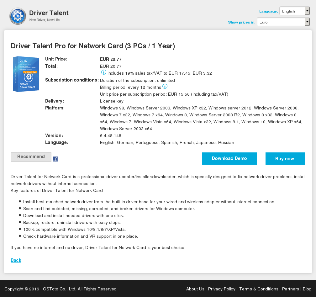 Driver Talent Pro for Network Card (3 PCs / 1 Year)