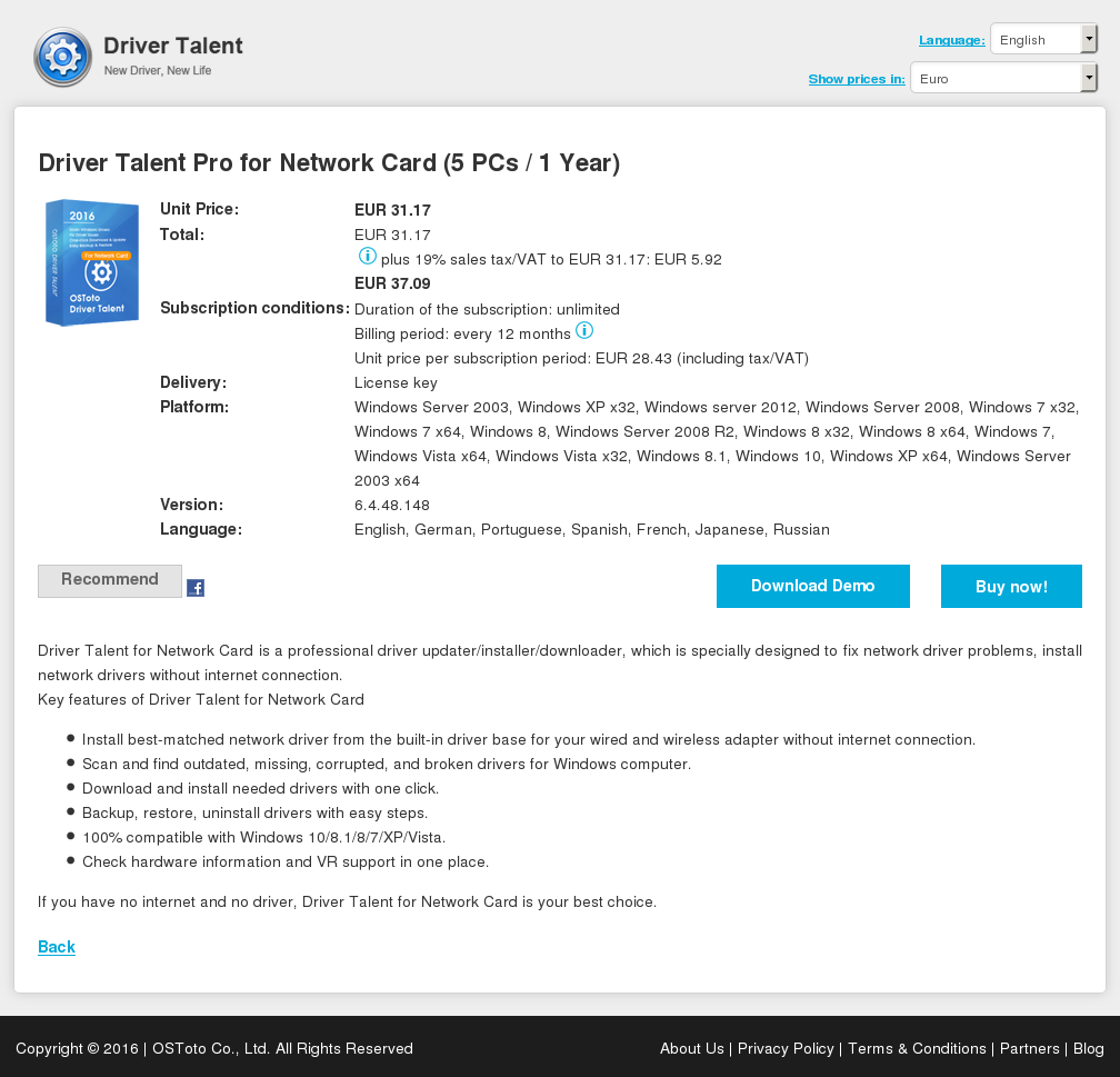 Driver Talent Pro for Network Card (5 PCs / 1 Year)
