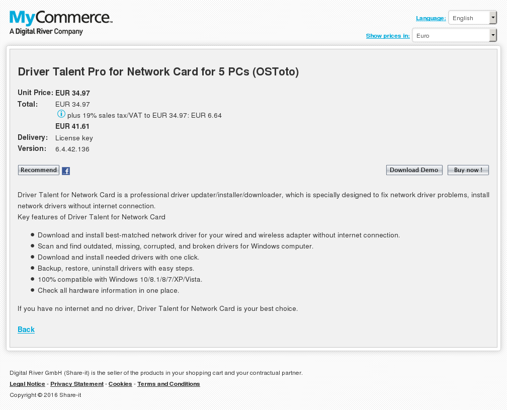 Driver Talent Pro for Network Card for 5 PCs (OSToto)