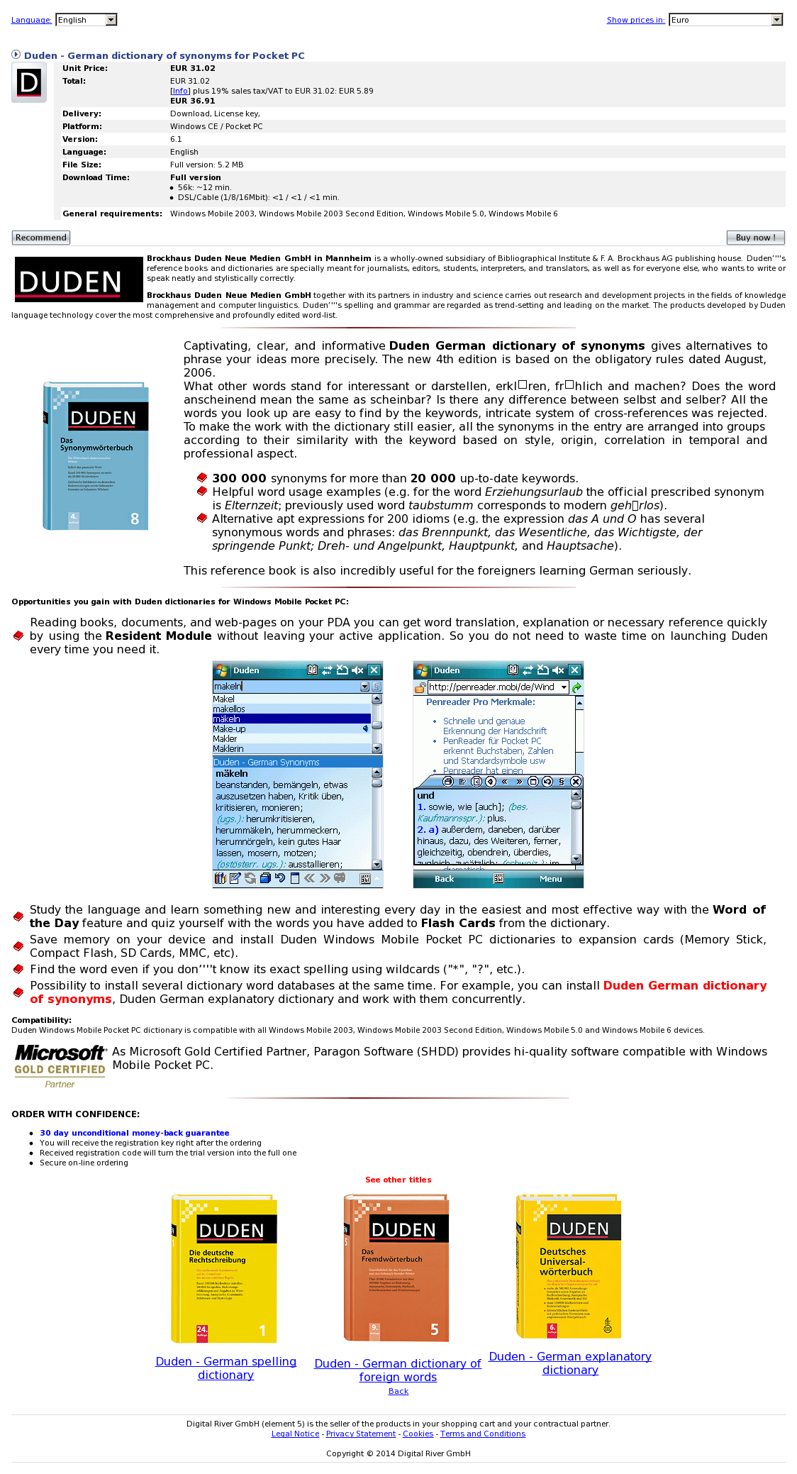 Duden - German dictionary of synonyms for Pocket PC
