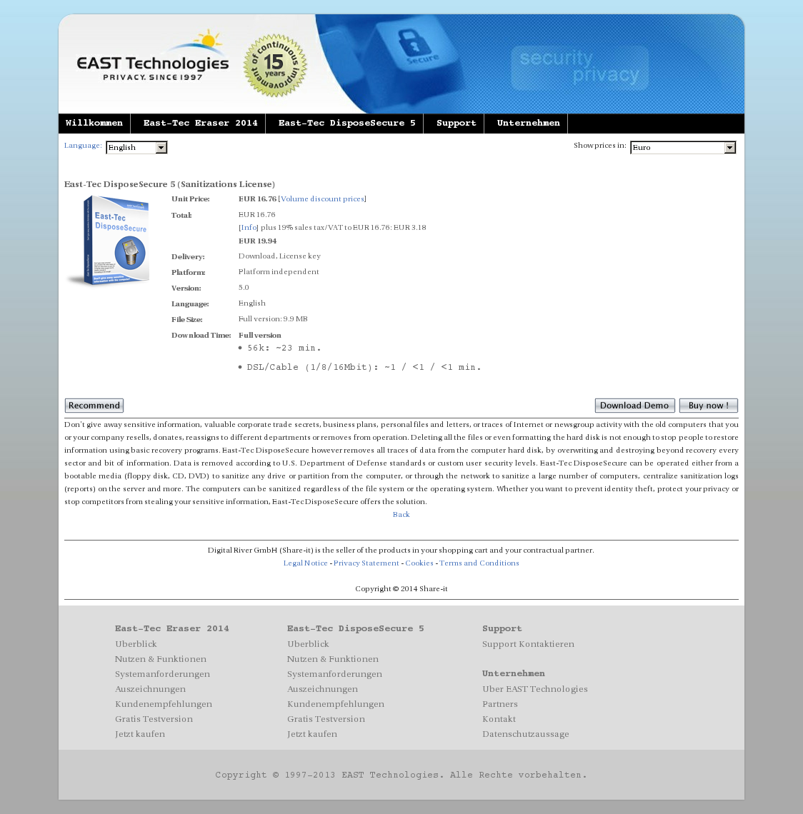 East-Tec DisposeSecure 5 (Sanitizations License)