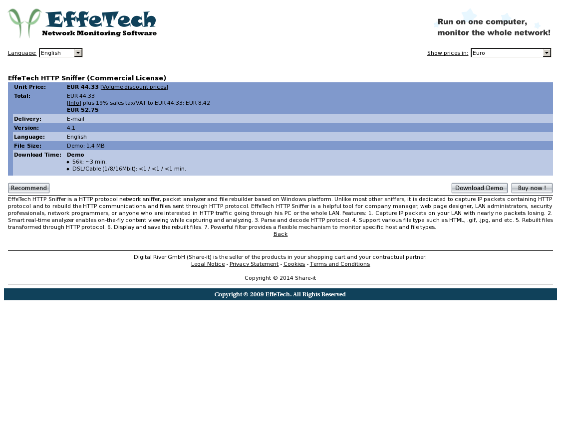 EffeTech HTTP Sniffer (Site License)