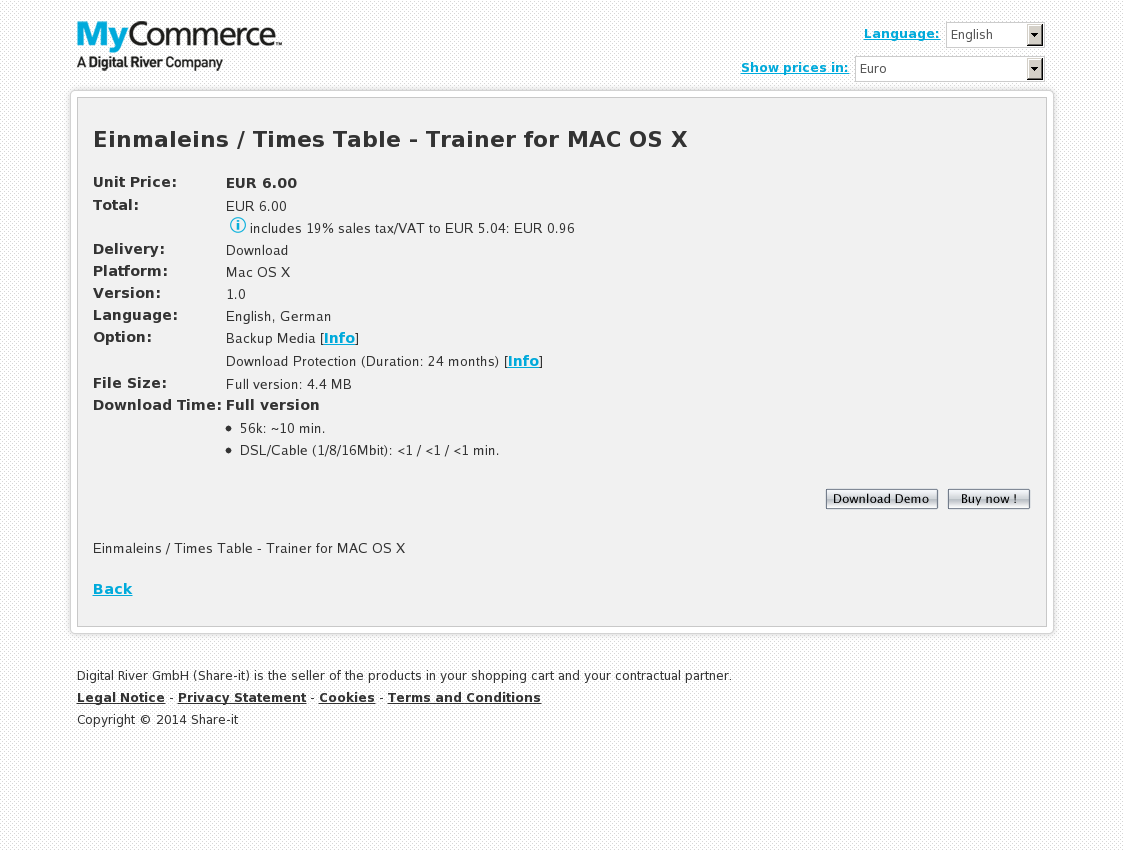 Einmaleins / Times Table - Trainer for MAC OS X