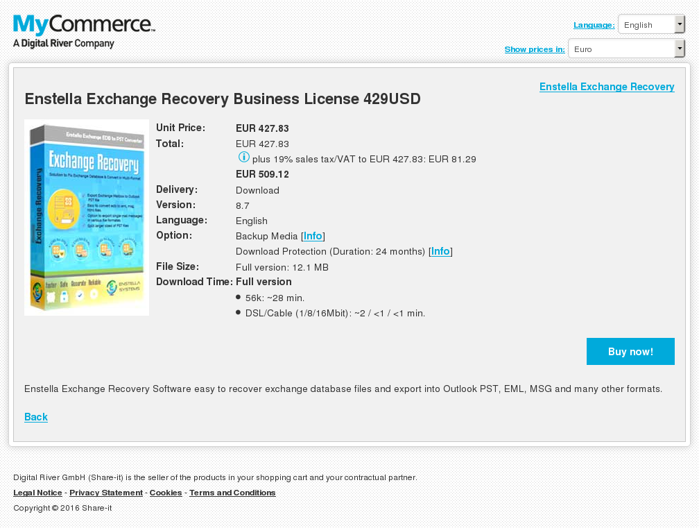 Enstella Exchange Recovery Business License 429USD