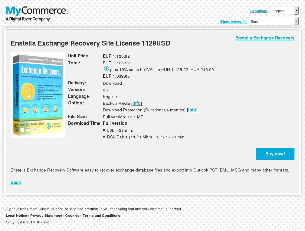 Enstella Exchange Recovery Site License 1129USD