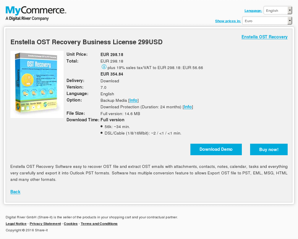 Enstella OST Recovery Business License 299USD
