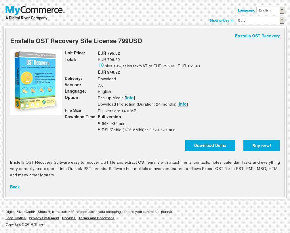 Enstella OST Recovery Site License 799USD